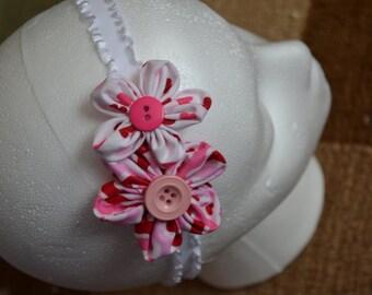 pink flower hearts headband