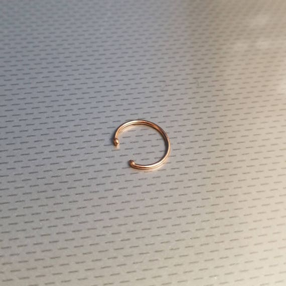 ddcb6b4de Thin Fake Rose Gold Delicate Tiny Clip On Nose Hoop Ring | Etsy