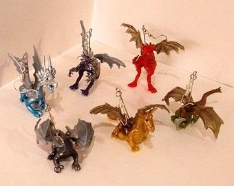 shiny dragon earrings fantasy lightweight