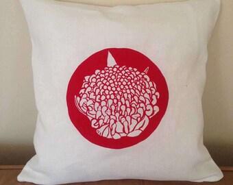"Linen Cushion ""Waratah"" Print"