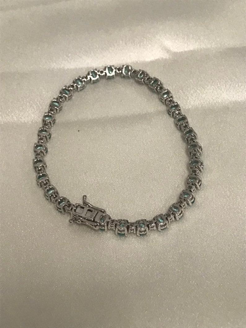 CLEARANCE CLOSEOUT Round Blue Topaz /& Man Made Diamond Tennis Bracelet Statement December Birthstone Push Present