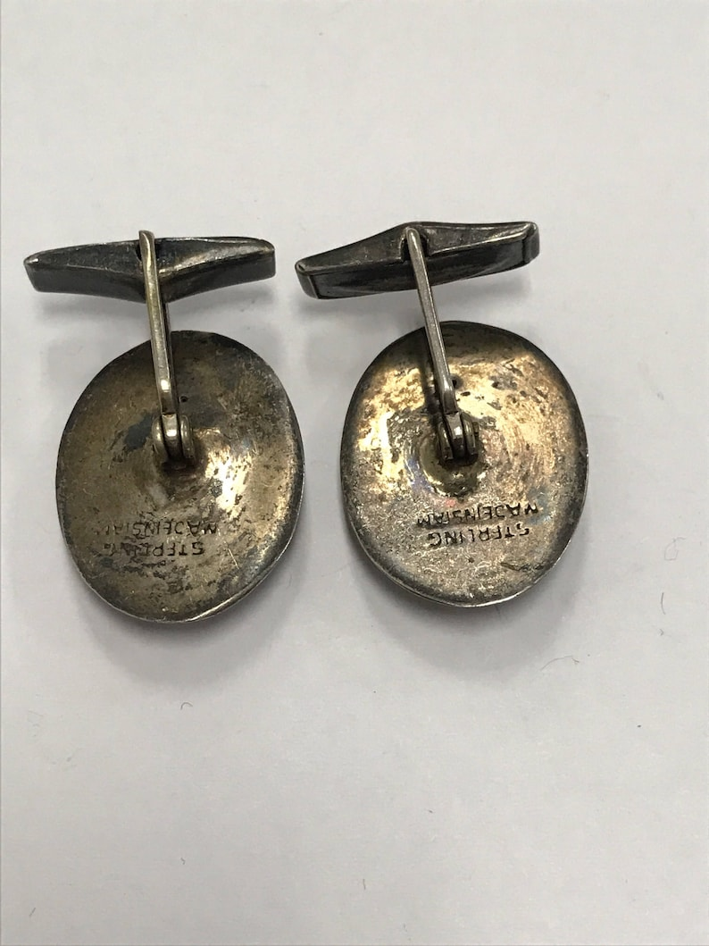 CHRISTMASINJULY Sterling Silver and Black Dancing Woman Siamese Made in Siam Men/'s Cufflinks Vintage Antique