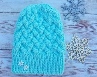 Teal winter hat
