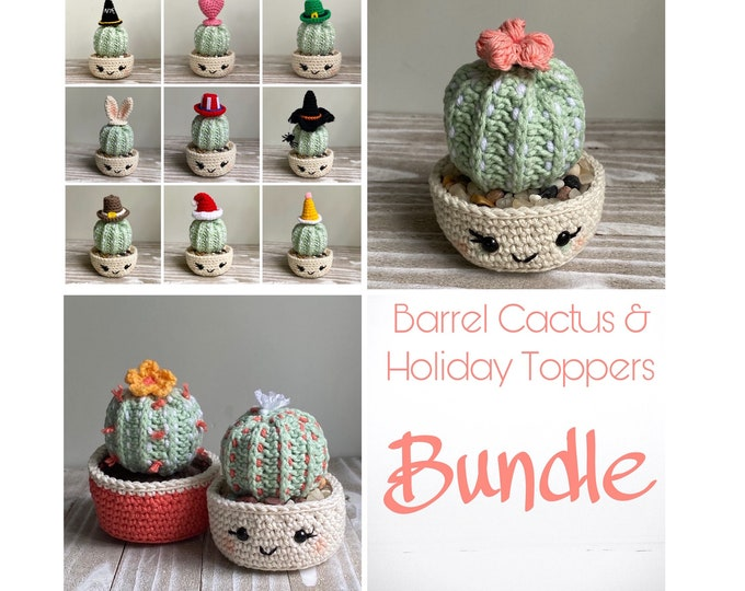 Barrel Cactus & Holiday Toppers Crochet Pattern Bundle