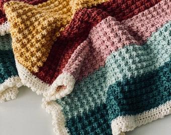 Modified Sedge Stitch Baby Blanket Crochet Pattern