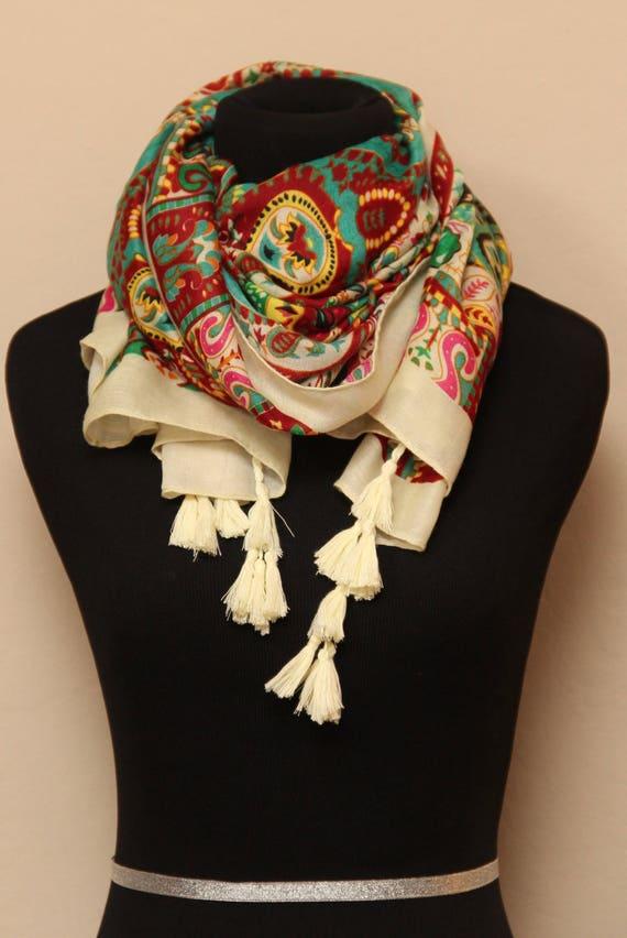 Femmes Ethnique Style Pendentif Bijoux Collier Tassel Scarf Multi Couleur Châle