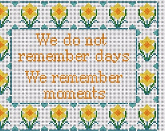 Family Quote Cross Stitch Pattern only PDF/JPEG Files Flower