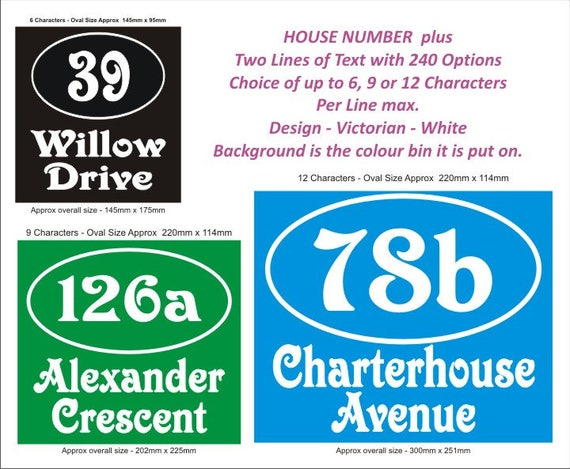 stickers decals 4 x Sets Wheelie Bin//Dustbin Number /& Name 3 lines choices