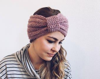 Crochet Turban, Headband, Earwarmer in BLUSH
