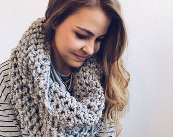 Infinity Cowl, Circle Scarf in GREY