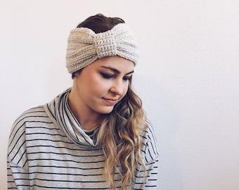 Crochet Turban, Headband, Earwarmer in CREAM
