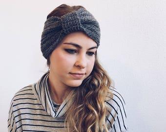 Crochet Turban, Headband, Earwarmer in CHARCOAL