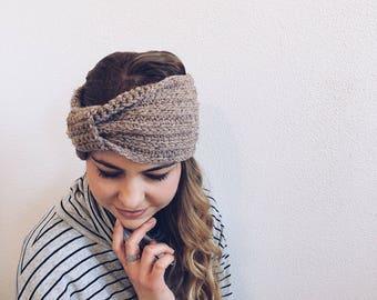 Crochet Turban, Headband, Earwarmer in TAUPE