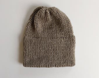 Knitted Double-Brim Beanie, Slouch Hat, in TAUPE
