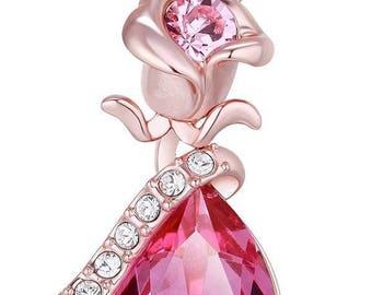 Flower Pendant Necklace Enriched with Swarovski Crystals, 18k Rose Gold