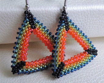 Native american bead Oscar de la Renta style clip earring mothers day gift  Long native american jewelry for girl  Creativity beadwork