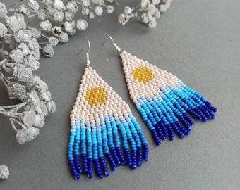 White beaded earring moon bead earrings nature art earrings long fringe earrings woven jewelry River bead earrings ethnic bead earrings