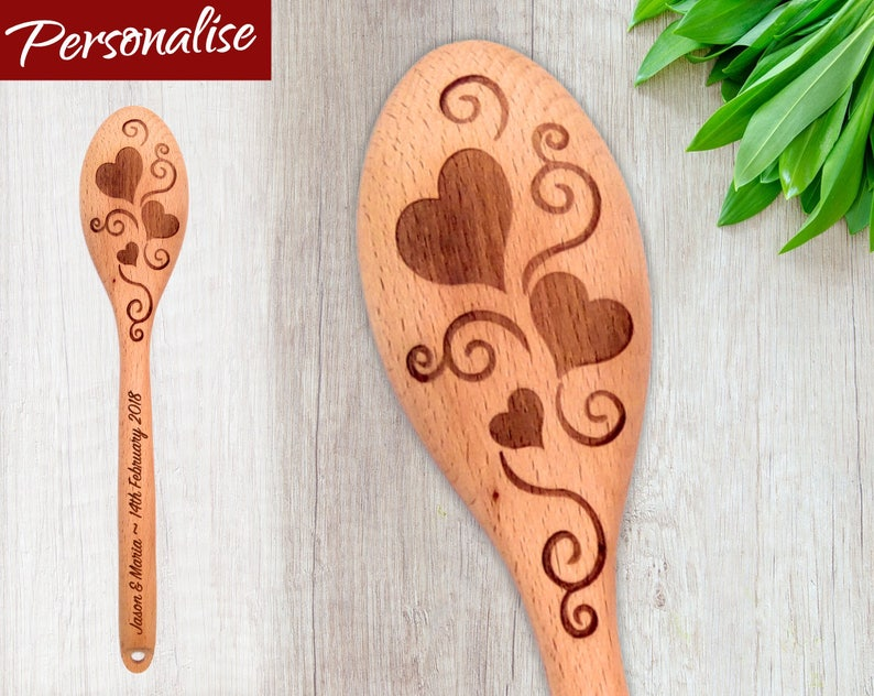 Personalized Wooden Spoon  Hearts & Swirls Valentines Gift image 0