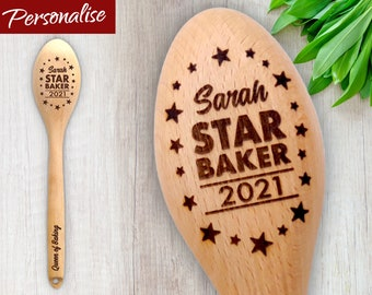 Star Baker Customised Wooden Spoon - Ideal Trophy for Bake Off Prize. Personalise with a Name and Short Message. Secret Santa Office Gift