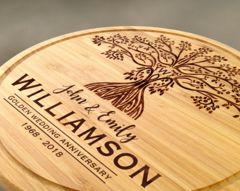 Personalised Anniversary Family Tree Round Wooden Cutting image 0