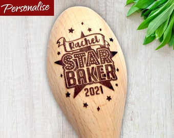 Star Baker Personalised Wooden Spoon with Big Star & Sparkles. Ideal Trophy for Bake Off Prize. Customise with Name, Year and Short Message