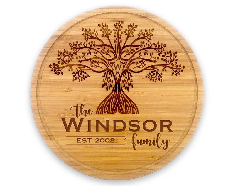 Round Customized Cutting Board Housewarming Family image 0