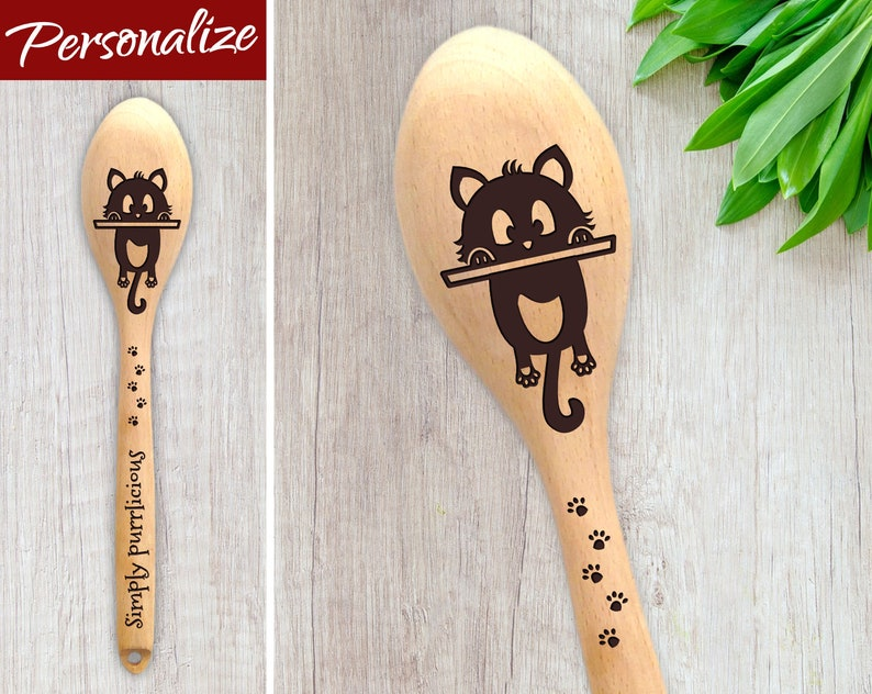 Personalised Wooden Spoon for Cat Lover with Paw Prints and image 0