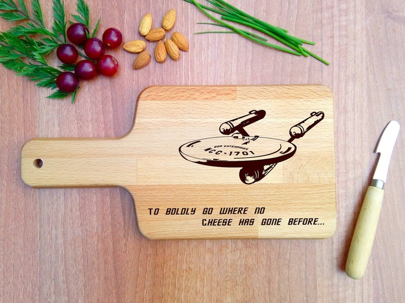STAR TREK parody cheese board with handle Geeky Valentines image 0