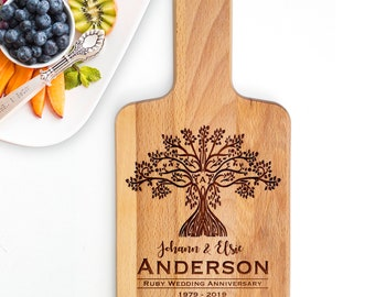 Anniversary Gift for Parents, Personalised Wooden Cheese Paddle Board Engraved with Family Tree of Life