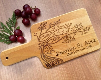 Personalized Cutting Board Wedding Gift, Family Tree Custom Engraved Wood, Housewarming Anniversary Wooden Chopping Board Present for Couple