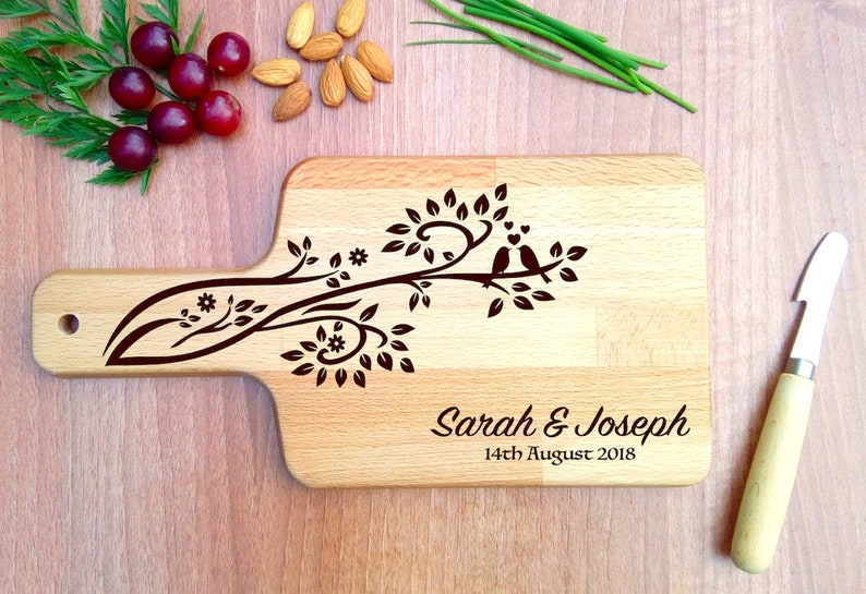 Personalised Chopping Board with Love Birds on Tree image 0