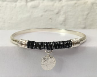 Sterling Silver Bangle with Black & Silver Thread Wrap and Charm