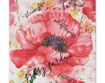 "Wall Art, Print, Red Poppy, ""Gypsy Garden"" Wildflower, Floral, Poster"