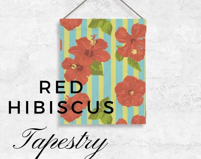 Red Hibiscus Tapestry Home Decor Tropical Beach Home Floral Stripes