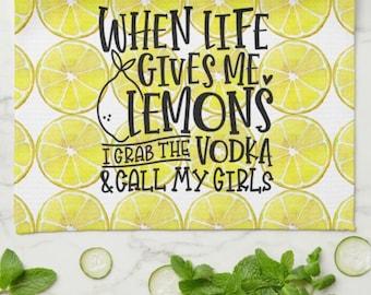 "Funny Kitchen Towel, Lemon Pattern, ""When Life Gives Me Lemons..."" Gift For Her, Lemon Kitchen"