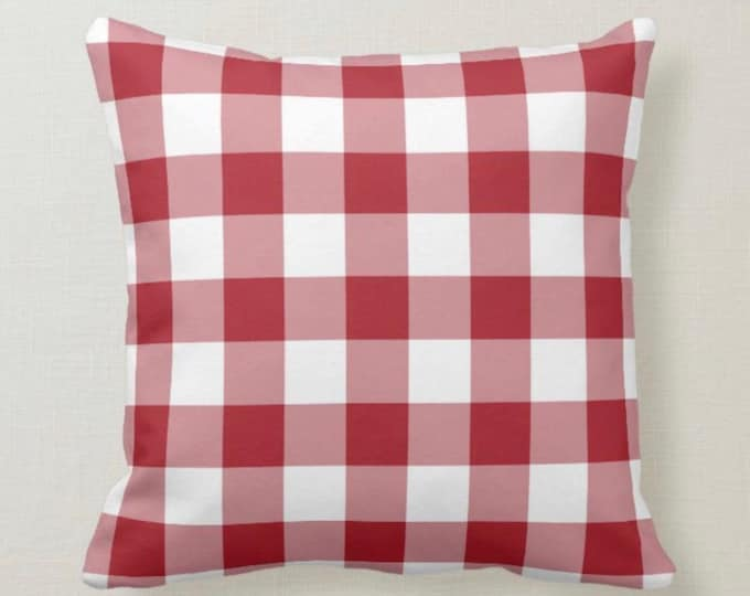 Pillow Red and White Checkered, Buffalo Plaid Pillow, Summer Front Porch Pillow, Christmas Checked Pillow, Red and White Plaid
