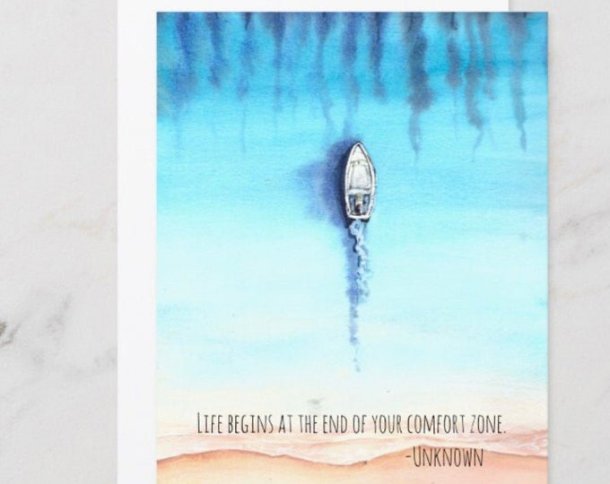 """Watercolor Ocean, Flat Card Set, Boat, Quote """"Life Begins at the End of Your Comfort Zone"""" Ready to Frame, 5 X 7, Blank Card, Set of 3"""