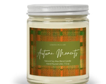 Autumn Moments Natural Soy Wax Blend Candle 7.5oz, Fall Candles, Tartan Plaid Candle, Brown Sugar Candle, Cinnamon Candle, Autumn Candle