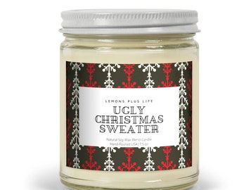 Ugly Christmas Sweater Candle, Retro Home Accent, Natural Soy Wax Blend Candle 7.5 oz, Funny Christmas Candle, Gift for Her
