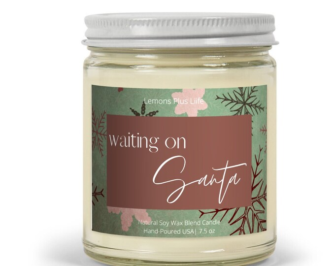 Waiting On Santa Christmas Candle, Soy Wax Blend Candle 7.5 oz, Retro Christmas Snowflakes, Retro Christmas Accent Candle, Gift for Her
