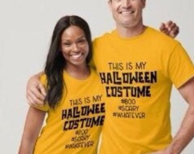 Funny Halloween T-shirt, This is My Halloween Costume, Unisex, His and Her Halloween Costume, Boo Scary Whatever T-shirt, Mustard Yellow