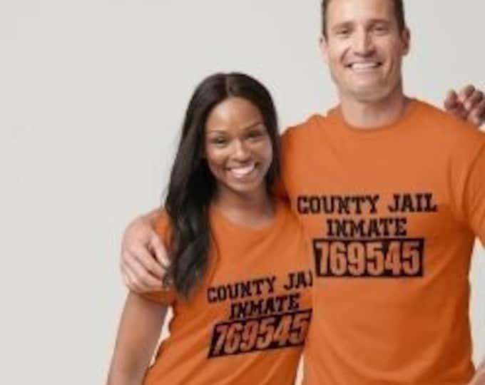 Funny Halloween T-shirt County Jail, Orange, Prisoner Number T-shirt, Halloween Costume, Unisex Halloween T-shirt, Orange Haloween T-shirt