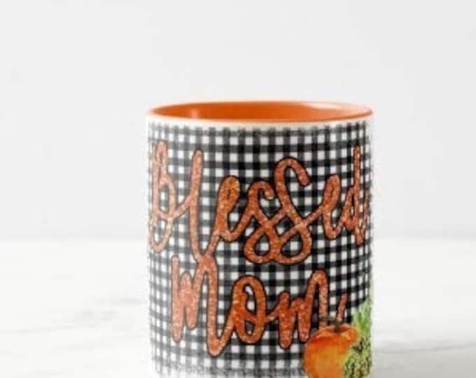 "Fall Ceramic Mug ""Blessed Mom"" Pumpkins and Black Gingham, Fall Gift for Mom, Fall Mugs for Mom, Fall Dinkware"