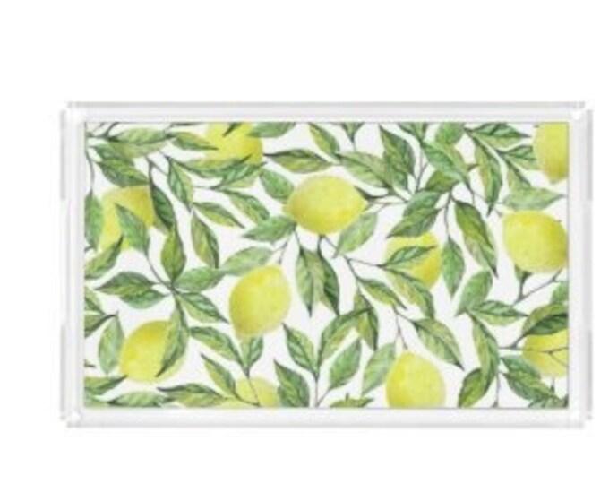 Lemon Decorative Acrylic Tray, Lemon and Leaves, Yellow and Green, Lemon Pattern Serving Tray, Lemon  Home Decor