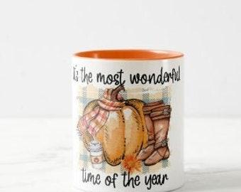 Fall Mug, Most Wonderful Time of the Year, Orange Pumpkin Scarf Boots, Fall Mug Gift for Her, Fall Hostess Gift, Fall Mug Friendship Gift
