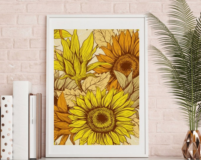 Sunflower Wall Art, Sunflower Print, Poster, Ready to Frame, Sunflower Wall Decor, Sunflower Home Decor, Sunflower Floral Print