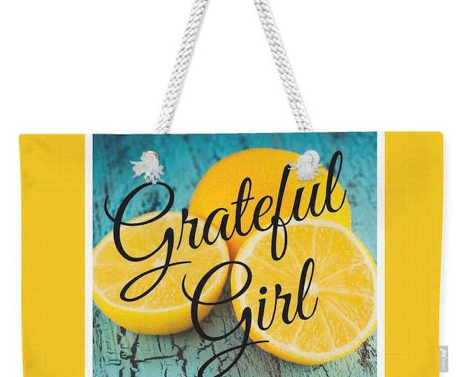 "Weekender Tote Bag ""Grateful Girl"""