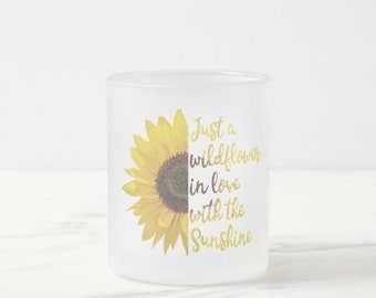 Mug, Sunflower, Wildflower in Love with Sunshine, Frosted Glass Coffee Mug