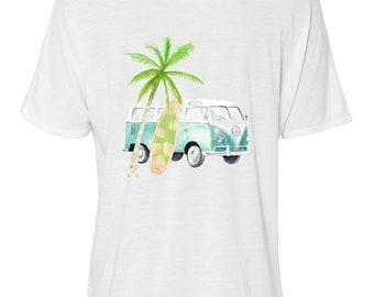 Bella Women's Flowy Slouchy Tee, Retro, Tropical, Volkswagen Van