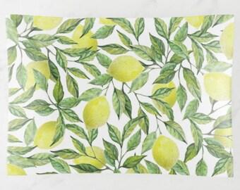 Lemon Decorative Glass Tray, Lemon and Leaves, Yellow and Green, Lemon Pattern Serving Tray, Lemon  Home Decor